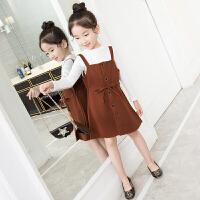 女童连衣裙秋装新款套装短裙小女孩背带裙