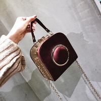 秋冬新款相机小包包欧美时尚迷你链条小方斜挎包百搭呢子女包