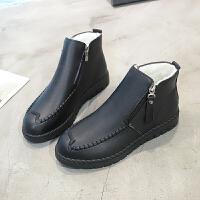 ����鞋棉鞋冬季短靴保暖加�q平底�底防滑舒�m中老年鞋女鞋子