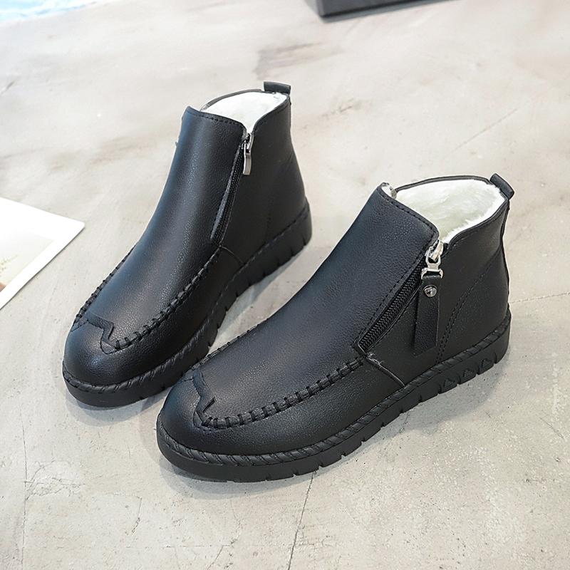 妈妈鞋棉鞋冬季短靴保暖加绒平底软底防滑舒适中老年鞋女鞋子   走进大自然的怀抱,美丽从这里起步。