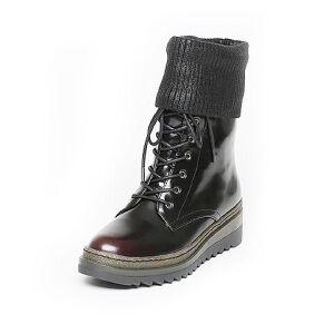 Tata/他她冬季黑/红牛皮拼接毛线绑带擦色休闲坡跟女中靴2U404DS6