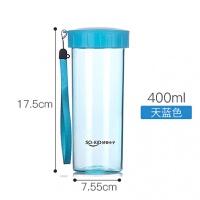 400ml透明水杯子塑料带盖创意便携随手韩国简约可爱男女学生款a226