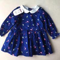 纯元 法单稻家梭织全棉双层蓝色火烈鸟衬衣女童甜美打底衣衫裙子