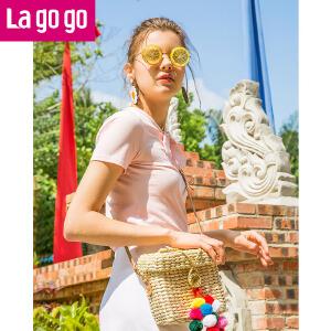 【清仓3折价59.7】Lagogo/拉谷谷2019夏季新款清新少女粉亮片装饰圆领T恤HATT313Q01