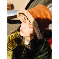 纯色羊羔绒渔夫帽子男女冬天保暖毛呢盆帽