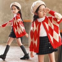 女童毛衣开衫外套秋冬2018新款中大童韩版格子上衣儿童洋气针织衫 藏青 格