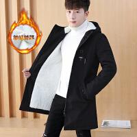 外套男韩版加绒加厚夹克男士风衣中长款帅气秋冬季衣服潮