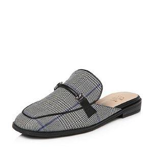 Tata/他她2018春专柜同款格子布通勤女穆勒鞋2C509AH8