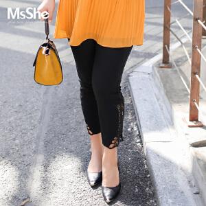 MsShe加肥加大码女装2017新款胖妹妹橡筋腰胖mm九分裤子M1730117