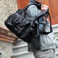 韩版男士单肩包斜挎包手提包斜跨 旅行包休闲包潮包男包包 大包