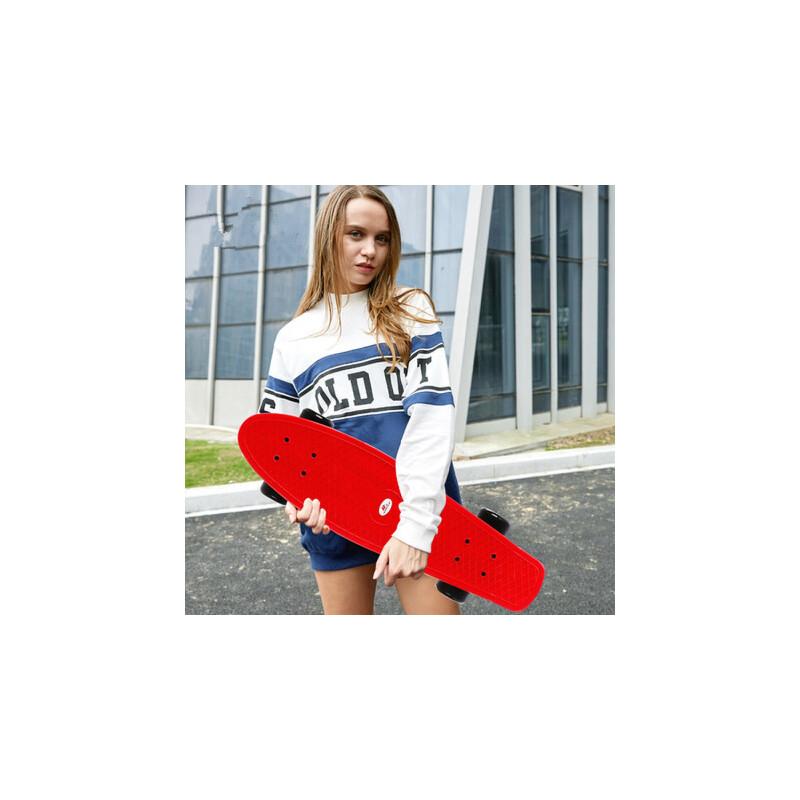户外运动青少年刷街塑料大鱼板 滑板车男女生小鱼板 成人四轮滑板