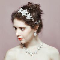 新娘婚纱头饰项链皇冠三件套装发饰头花配饰结婚首饰品