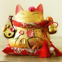 招财猫摆件金色大号可爱陶瓷装饰日本存钱罐店铺开业创意礼品