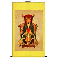 葛天师画像丝绸画 道教神仙卷轴画 降福客厅风水装饰挂画 85*145 不加锦盒