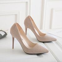粉色高跟鞋新款细跟尖头女单鞋浅口百搭职业ol工作鞋绒面舒适女鞋