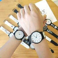 韩版原宿复古黑白情侣手表男女韩国时尚潮流学生硅胶手表石英表