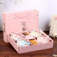 陶瓷碗筷套装家用吃饭碗日式创意个性小碗礼盒装情侣餐具婚庆回礼iu5