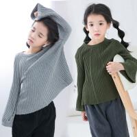 女童毛衣秋装新款韩版中小童喇叭袖包芯纱休闲百搭打底毛线上衣