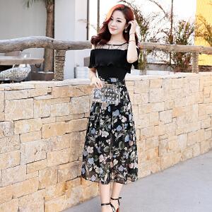 夏天女士连衣裙2018新款时尚漏肩T恤开叉碎花裙拼接假两件套裙子