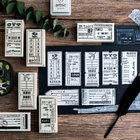 陌墨手帐素材印章手账复古木质登机牌日期旅行木制印章标签收集录