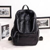 ��包�p肩包女�n版新款背包潮配真皮��咪包�皮大容量旅行包 黑色