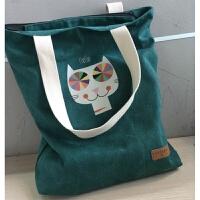 韩国简约帆布包包女单肩手提包学生书包购物休闲包文艺布包百搭 彩虹猫-墨绿 有衬