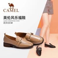 骆驼女鞋 2018秋季新款 时尚舒适方跟套脚韩版百搭英伦低跟单鞋女