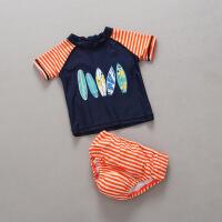 儿童泳衣男童泳裤韩国小童分体婴儿防水防漏纸尿裤宝宝泳衣 YY男童橙条纹纸尿裤