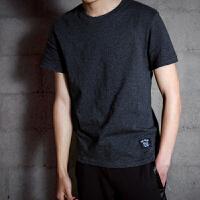 【2件2.5折】唐狮t恤男短袖夏季新款纯色圆领男装修身纯棉韩版潮流打底衫