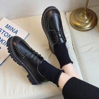 皮鞋 女士英伦风漆皮系带单鞋2019秋季新款韩版时尚女式防滑低跟舒适百搭女鞋子