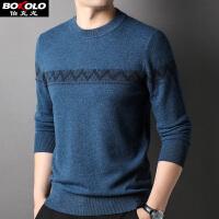 伯克龙男士纯羊毛衫 秋冬季新款100%羊毛针织衫男装韩版青中老年套头圆领毛衣 Z8027