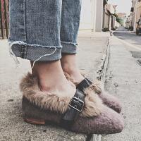 一脚蹬毛毛鞋女冬季外穿2018新款中跟复古粗跟仙女网红同款豆豆鞋hgl