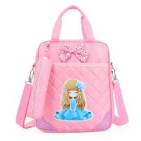 补习袋手提斜挎双肩多功能三用包女孩卡通小学生书包补习包装书袋