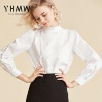 【店庆遇见11.11 限时秒杀99元】YHMW2019春新款很仙的洋气上衣荷叶领蕾丝拼接设计感衬衫