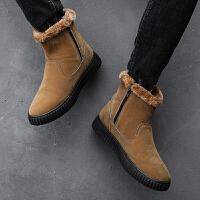 韩版男靴子潮流高帮雪地靴男冬天保暖加绒短靴大棉鞋防滑马丁棉靴