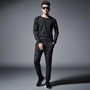 卫衣套装男秋季新款套头圆领韩版大码休闲潮流跑步运动长袖套装男
