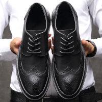 2018秋季布洛克男鞋工作鞋子商务休闲鞋英伦男士内增高正装皮鞋男