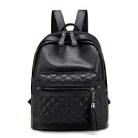 菱格双肩包女妈咪软皮包背包女初中高中学生书包大学生书包旅行包 黑色