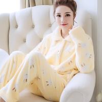 韩版可爱秋冬季加厚珊瑚绒学生加绒睡衣女士长袖法兰绒家居服套装