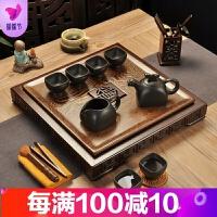 鸡翅木茶盘哥窑茶具套装家用整套功夫紫砂壶茶杯实木简约茶海四方 16件