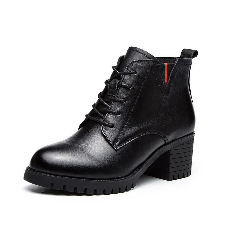 中跟短靴女冬秋2018新款牛皮粗跟马丁靴 软底系带单靴子真皮女鞋真皮 黑色