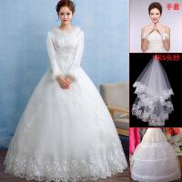 冬季婚纱礼服2018新款新娘结婚长袖齐地显瘦公主加厚加棉保暖冬天