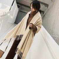忆风尚 纯羊毛围巾女士 秋冬季保暖纯色灰色长款两用围脖韩版披肩