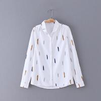 351 女装 春季新款2018 涂鸦图案排扣翻领长袖女式衬衫