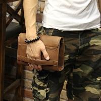 定型皮新款韩版男士手包休闲男包手拿包软皮手抓包夹包男 咖啡色