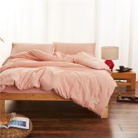 1.5纯棉床单床笠被套素色水洗棉 床上用品四件套