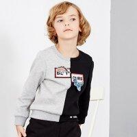 【1件2.5折到手价:54】米喜迪mecity童装男童拼色卡通卫衣儿童圆领红色套头卫衣