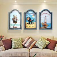 地中海风格立体装饰画家居客厅沙发背景墙三联画卧室床头挂画浮雕画