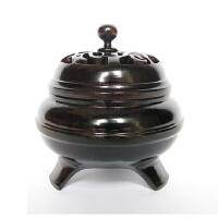 红木镂空盘香炉香插摆件熏香炉实木质香炉香盒工艺品