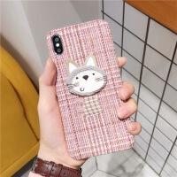 粉格适用猫咪iphone7plus手机壳6s苹果x/8p/xs max毛绒布秋冬xr女 粉格-布艺猫-粉色 iPhon